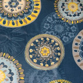 Coated cotton fabric Sonora - blue x 63cm