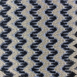 Tissu ajouré grands chevrons noir/doré x 10cm