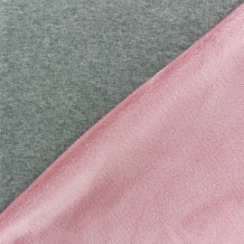 Tissu sweat envers minkee bicolore gris/rose dragée x 10cm
