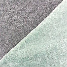 Tissu sweat envers minkee bicolore gris/vert d'eau x 10cm