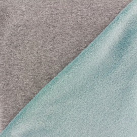 Tissu sweat envers minkee bicolore gris/bleu dragée x 10cm