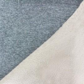 Tissu sweat envers minkee bicolore gris/beige clair x 10cm
