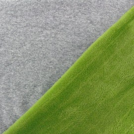 Tissu sweat envers minkee bicolore gris/vert prairie x 10cm