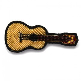 """Macon & Lesquoy Hand Embroidered brooch """"yukulele"""" - golden"""