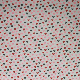Sweet little love coated cotton fabric - grey x 10cm