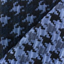 Tissu jacquard lurex Pied de poule bleu marine x 10cm