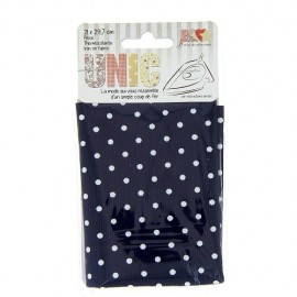 Iron on fabric stiched little polka dots  - white/navy blue