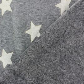 Tissu sweat envers minkee gris grandes étoiles pailletées dorées x 10cm