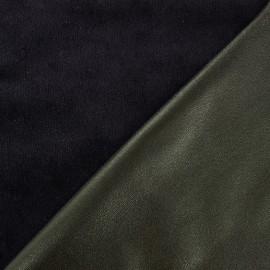 Supple faux leather on velvet - grey green/black x 10cm