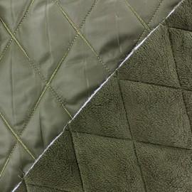 Tissu matelassé envers minkee vert olive x 10cm