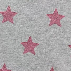 Tissu sweat envers minkee gris clair grandes étoiles pailletées framboise x 10cm