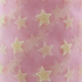 Tulle luxe floqué Etoiles rose/crème x 10cm