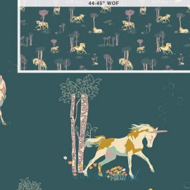 Tissu Coton AGF Fantasia - Unicorn Fable Balsamtree x 10cm