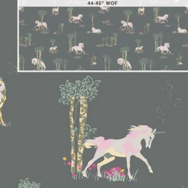 Tissu Coton AGF Fantasia - Unicorn Fable Sageplant x 62cm