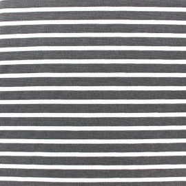 Tissu Jersey Blanco rayures blanc/gris x 10cm
