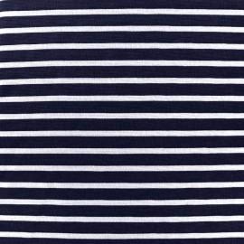 Tissu Jersey Blanco rayures blanc/marine x 10cm