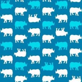 Tissu Coton Makower UK - Baby Chic - Rhino Bleu x 10cm