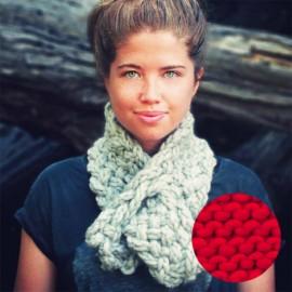 Lucette kit tricot écharpe - pomme d'amour