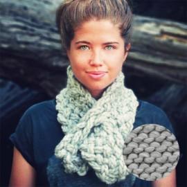 Lucette kit tricot écharpe - bois flotté