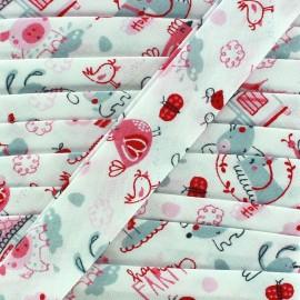 Bias binding Happy Farm - pink x 1 m