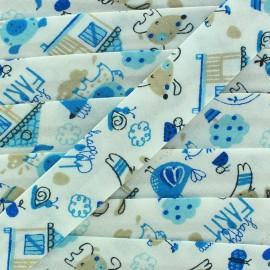 Bias binding Happy Farm - light blue x 1 m