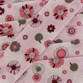Bias binding sweet flowers  - pink x 1 m