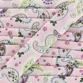 Bias binding Paisley  - pink x 1 m