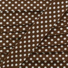Cotton bias binding, with white polka dots - brown