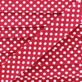 Cotton bias binding, with white polka dots - candy pink