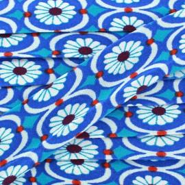 Jersey bias binding vintage flowers x 1m - blue