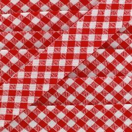 Bias binding, gingham 18 mm - red