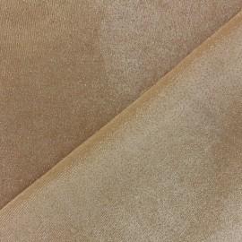 Glittery velvet fabric - sand x10cm