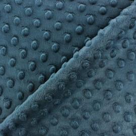 Tissu Velours minkee doux relief à pois bleu pétrole x 10cm