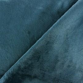 Tissu Velours minkee doux ras bleu pétrole x 10cm