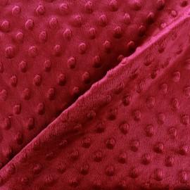 Tissu Velours minkee doux relief à pois grenat x 10cm