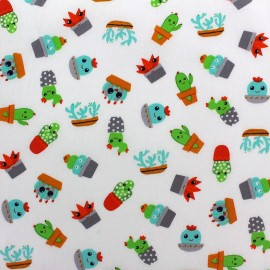 Tissu coton Poppy Fresh Cactus - blanc x 10cm