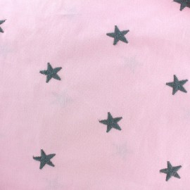 Tissu coton brodé Etoile - rose x 10cm