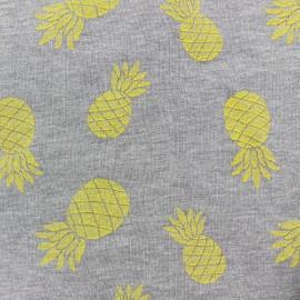 Tissu sweat Ananas glitter jaune x 10cm