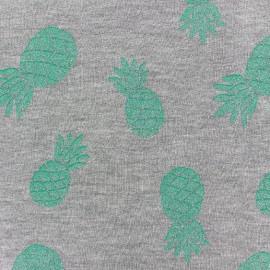Pineapple glitter sweat fabric - green x 10cm