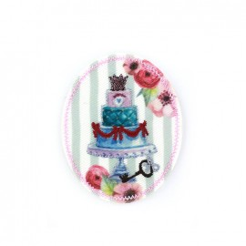 Nostalgia badge Iron on - weeding cake