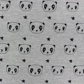 Tissu Jersey Jo Panda - gris x 10cm