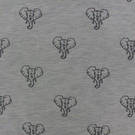 Tissu Jogging Elephant - gris x 10cm