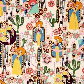 Cotton fabric Ranchera - beige x 60cm
