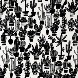 Cotton fabric Agave - black and white x 31cm