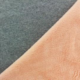 Tissu sweat envers minkee bicolore gris/orange clair x 10cm