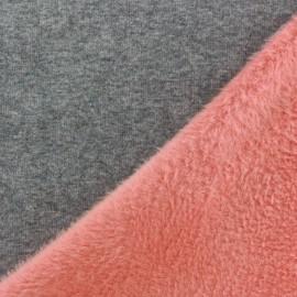 Tissu sweat envers minkee bicolore gris/corail x 10cm