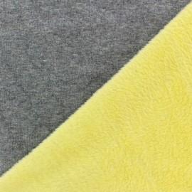 Tissu sweat envers minkee bicolore gris/jaune x 10cm