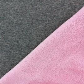 Tissu sweat envers minkee bicolore gris/rose bonbon x 10cm