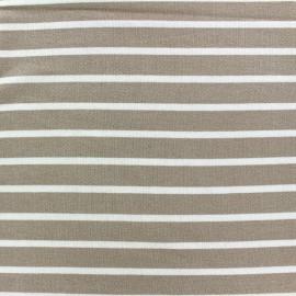 Light striped viscose jogging Fabric - white/beigex 10cm