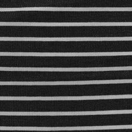 Light striped viscose jogging Fabric - black/white x 10cm